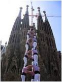 """""""Castellers"""" in front of Sagrada Familia"""